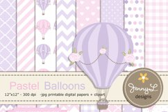 Pastel Pink Hot Air Balloons Digital papers and Clipart Product Image 1