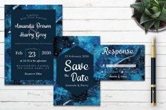 Abstract Blue Galaxy Space Watercolor Wedding Invitation Set Product Image 2