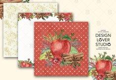 Watercolor Apple Cinnamon digital paper pack Product Image 5