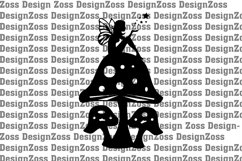 Fairy on top of mushroom svf file, cut file graphic file Product Image 1