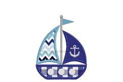 Simple Anchor Sailboat Applique Design Product Image 5
