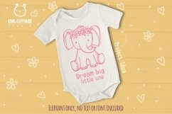 Little Elephant with Flowers Crown Svg , Baby Elephant Cut F Product Image 6