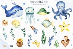 Under the sea. Watercolor clipart, frames, cards, patterns Product Image 2