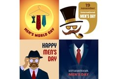 Mens day banner set, cartoon style Product Image 1