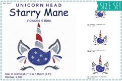 Unicorn Head Starry Mane Applique Embroidery Design Product Image 1