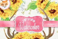 Watercolor Rustic Bouquets Sunflower with Horns & Wild Herbs Product Image 1