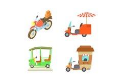 Motobike icon set, cartoon style Product Image 1