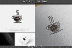 hand drawn steam coffee, mug, glass, coffee bean, coffee sho Product Image 1