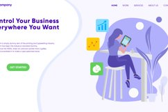 Control Your Business Landing Page Flat Illustration Vector Product Image 3