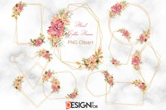 Gold Glitter frame Clipart, Christmas Floral Frame clip art Product Image 1