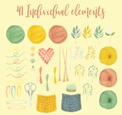 Watercolor Knitting and Crochet Clipart Product Image 2