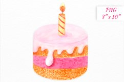 Birthday cake with candle clipart Product Image 1