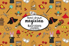 Hand Illustrated Magicians Magic Show Pattern Product Image 1