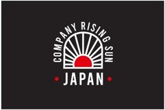 Japan flag with rising red rays logo design illustration Product Image 1
