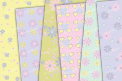 Pastel purple flowers and hearts scrapbook paper Product Image 2