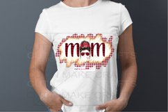 Plaid MOM Messy Bun Sublimation Design for T-shirts Product Image 2