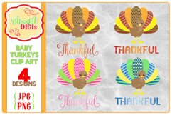 Cute Baby Turkey Clip Art - Thanksgiving, Fall, PNG/JPG Product Image 1