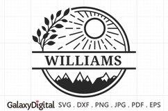 Split Name SVG, Sun and Mountain Monogram Frame SVG - 09264 Product Image 1