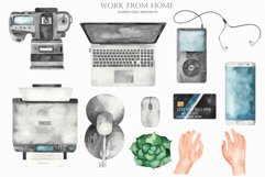 Work from home Watercolor clipart. Seamless patterns, frame Product Image 3