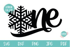 One Cake Topper with Snowflake svg   1st Birthday SVG Product Image 2