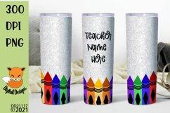 Glitter Effect Teacher Crayon Skinny Tumbler Sub Product Image 1