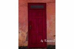 Vintage red wooden door Antique building exterior detail Product Image 1