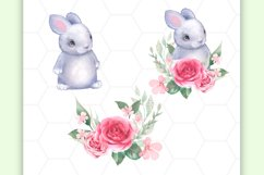 Bunny and Flowers. Cute clipart Product Image 2