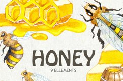 Watercolor Honey Bee Clipart, Honeycomb, Hand painted Product Image 2