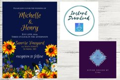 Sunflower and Blue Wedding Invitation Product Image 6