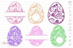 Easter egg monogram flourish bundle svg dxf eps png Product Image 1