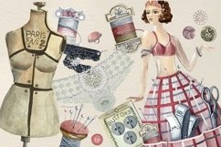Sewing kit, Watercolor clipart Product Image 4