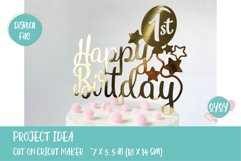 Happy 1st Birthday Cake Topper SVG Product Image 3