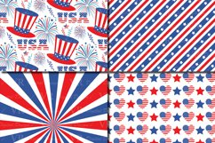 4th of July Digital Paper / USA Independence Day backgrounds / American patriotic Scrapbook paper Product Image 3
