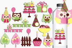 Birthday Party Owls Illustrations and Graphics Product Image 1