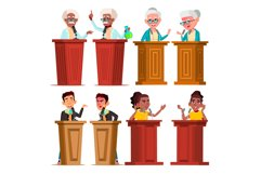 Politicians, Speakers, Tutors Cartoon Vector Characters Set Product Image 1