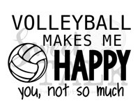 Volleyball makes me happy svg, png, jpg, dxf-Instant digital download Product Image 1