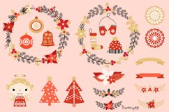 Red and gold Rustic Christmas clipart set with wreaths Product Image 4