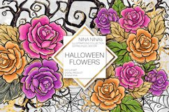 Halloween Flowers Clipart, Roses Clip Art, Stickers PNG Pack Product Image 1