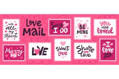 Love mail stamp. Hand drawn love romantic lettering for vale Product Image 1