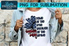 Patriotic Sunflower Glitter Blue PNG | Patriotic Sublimation Product Image 1
