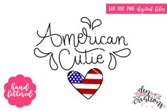 American Cute - Hand Lettered - SVG DXF PNG Product Image 1