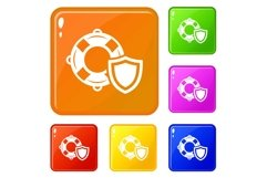 Lifeguard protection icons set vector color Product Image 1