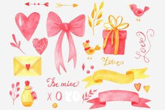 Valentines Day cliparts, pink and gold love graphics Product Image 6