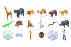 Park zoo icons set, isometric style Product Image 1