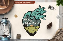 Love the Mountains Logo / Mountain Heart Badge SVG Patch Product Image 1