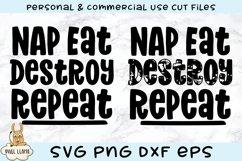Nap Eat Destroy Repeat Kids Grunge Distress SVG Product Image 3
