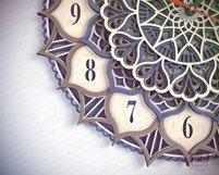 C18 - Laser Cut Wall Clock DXF, Mandala Clock, Wooden Clock Product Image 6