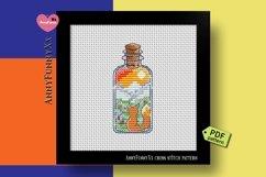 Mini bottle cross stitch pattern PDF, Mason jar Xstitch fox Product Image 1