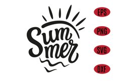 Summer text with sun and waves. SVG Design Product Image 1