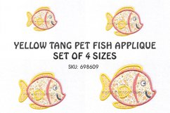 Yellow Tang Pet Fish Applique Machine Embroidery Design Product Image 1
